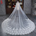 New Style Ivory one Layer 3 Meters Lace Edge Cathedral Length Wedding Bridal Veil With Comb