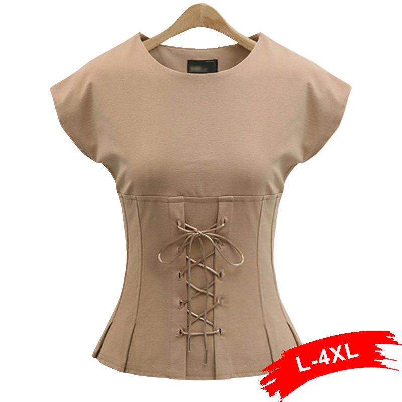 Plus Size Sexy Ruffles Sleeveless Lace Up Blouse Shirt 4Xl 5Xl Women Sexy Belt Blouse Summer Streetwear Female Cropped Tops