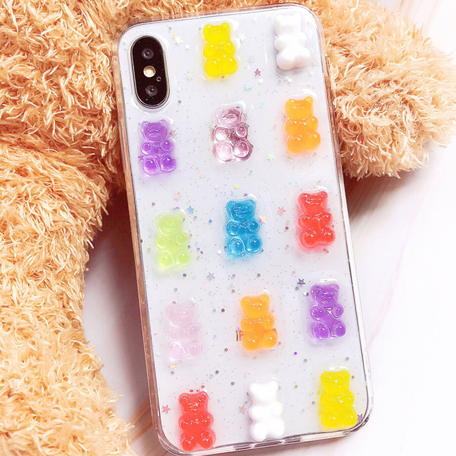 Qianliyao Cute 3D Candy Colors Bear Phone Case for iphone X XS Max XR 8 7 6 6S plus 11 12 Pro Max Se 2020 Glitter Soft Cover 1