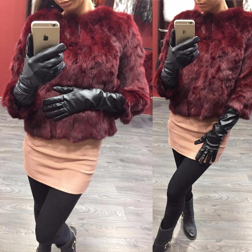 Ethel Anderson Real Rabbit Fur Coat Women's Floral Jacket 3/4 Sleeve Outwear