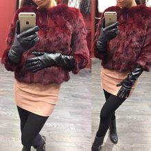 Ethel Anderson Real Rabbit Fur Coat Women's Floral Jacket 3/4 Sleeve Outwear(China)