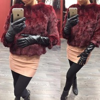 Ethel Anderson Real Rabbit Fur Coat Women's Floral Jacket 3/4 Sleeve Outwear