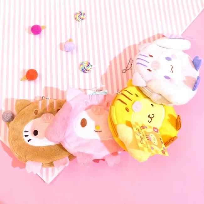 Pom PomPurin Cinnamoroll Sanrio Olá Kitty My Melody Plush Coin Purse Sacos Kawaii Bonito Chave Cadeia Saco de Cartão da Carteira para presentes da menina