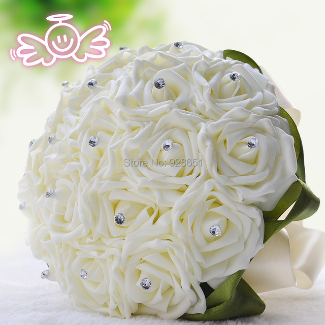 Cream Wedding Flowers Bridal Bouquets White Bouquet Simulation Roses Flower Bride Free Shipping
