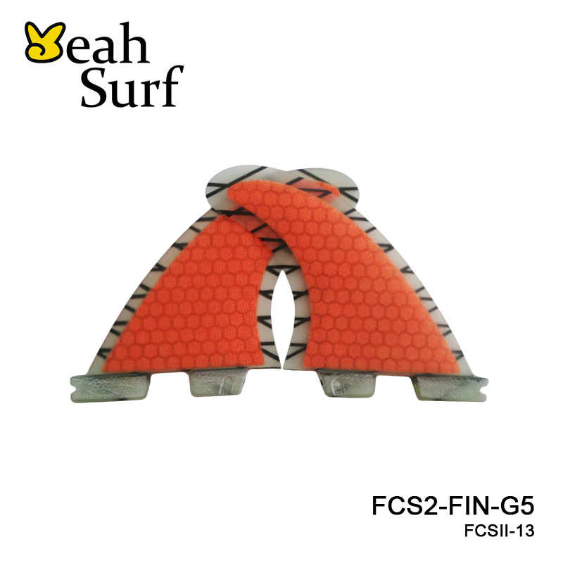 FCSII G5 M Size Surf Fins Surfboard Orange Honeycomb Fins FCS 2 Carbon Firbe Fin New Design FCS II Quilhas цена