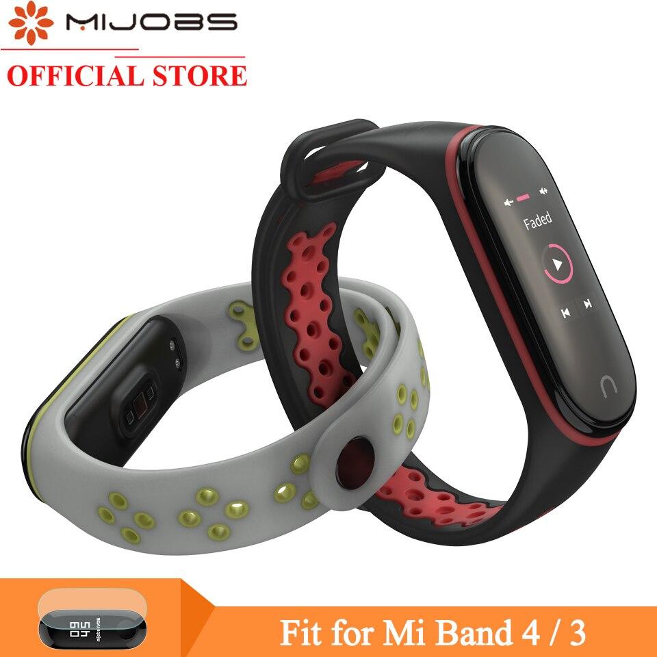 Mijobs Mi Band 4 Strap Sport Wrist Strap For Xiaomi Mi Band 4 Silicone Bracelet For Xiaomi Mi Band 3 Smart Watch Miband 3 Strap