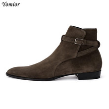 Yomior Men Boots Genuine Leather Handmade Fashion New Autumn Winter Ankle Boots Casual Gentleman Party Wedding Chelsea Boots yomior brand spring autumn genuine leather boots men cow leather motorcycle boots fashion dress business wedding ankle boots
