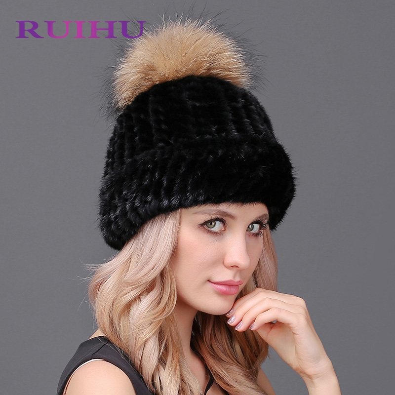 RUIHU Hat Women Raccoon Fur Pom Poms+Solid Hats Female Lady Warm Winter Cap Thick Solid Caps For Women Gorros Beanies FRHM652 new star spring cotton baby hat for 6 months 2 years with fluffy raccoon fox fur pom poms touca kids caps for boys and girls