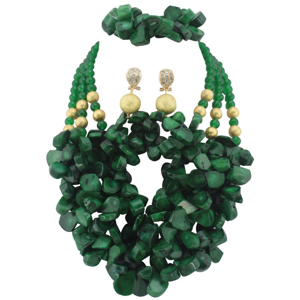 Green African Nigerian Wedding Beads Jewelry Set Coral Jewelry Set Coral Beads Necklace Set African Jewelry Set  E1117