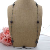 K063004 36 Black Keshi Pearl Cz Pave Hamsa Long Chain Necklace
