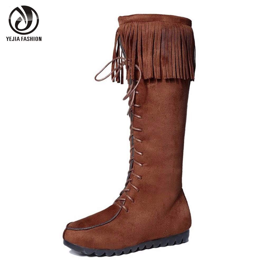 Since , the Front Lace Knee High Boot has captured the attention of independent spirits. The soft suede and fringe-accented boot was worn throughout the '70s as a counterculture style statement, and continues to gain fans in celebrities, fashion influencers, and those who love the modern boho chic look.