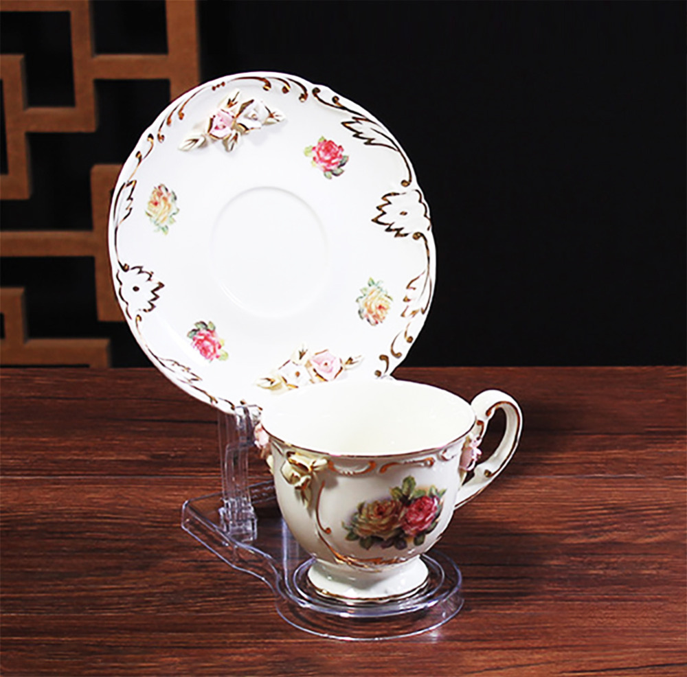 clear teacups and saucer display easel stand holder