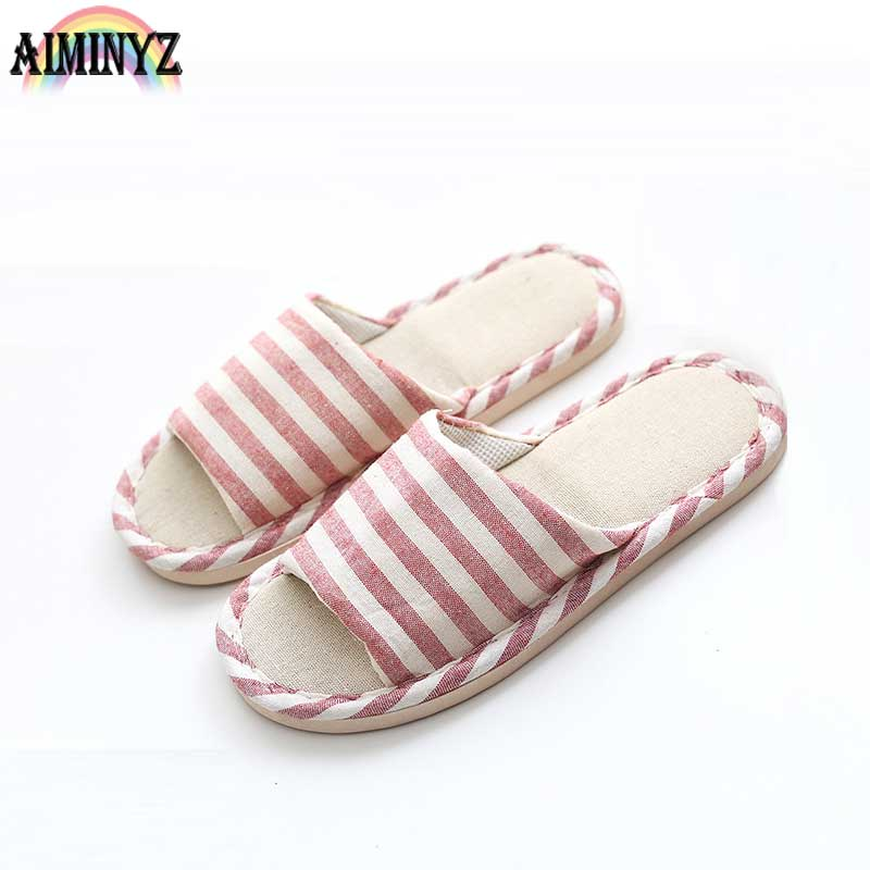 Linen Adult Slippers Striped Women House Summer Flax Shoes Lovers Indoor Pantufas Bedroom Sandals Floor Chaussons Men Comfort korean house slippers women home slippers warm shoes soft indoor pantufas plush bedroom lovers zapatillas casa mujer chaussons
