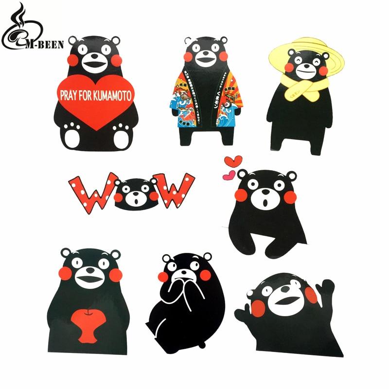 8pcs/lot Japan Cartoon Kumamon Stickers For Notebook Luggage Skateboard Bicycle Laptop Waterproof Graffiti Kids Toy PVC Decals