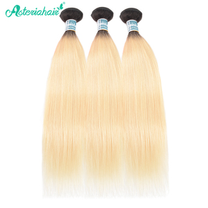 Pelo de Asteria 1B/613 paquetes de pelo rubio con cierre brasileño recto 3 paquetes de pelo de Ombre con cierre de cabello Remy extensiones de