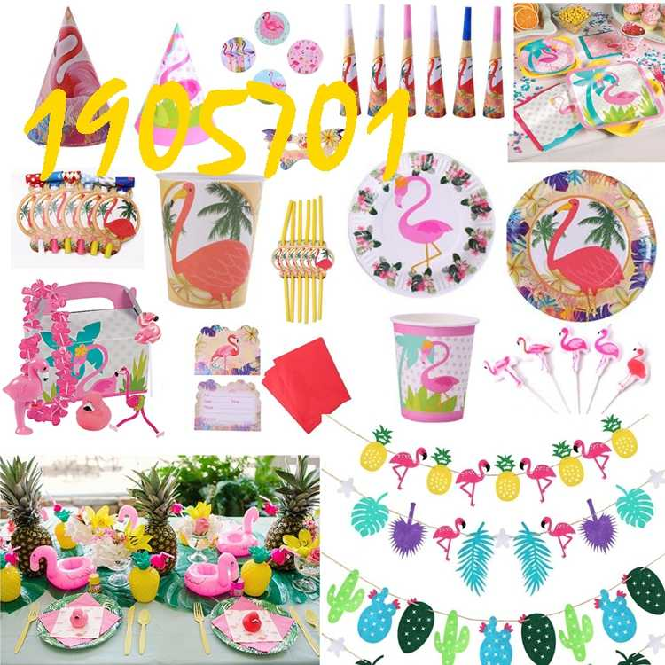 Flamingos Thema Papieren servies Plaat Cup Banner Bril Servet Tafelkleed Ballon Greet Kaart Box Bag Favor Party Verjaardagscadeau