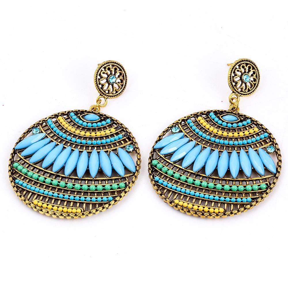 Bohemia Vintage Hollow Design Drop Resin Earring Heart Beaded Dangle Earrings For Women des boucles doreilles Wholesale