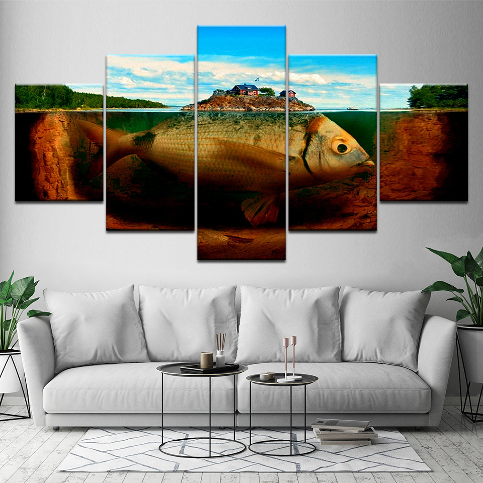 House Decoration Craft Kissing Fish Home Furnishings: Canvas Wall Art Pictures Home Decor 5 Pieces Lsland Fish