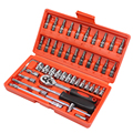 46pcs 1/4-Inch Socket Set Car Repair Tool Ratchet Torque Wrench Combo Tools Kit Auto Repairing Gator Grip Wrenches Hand Tools