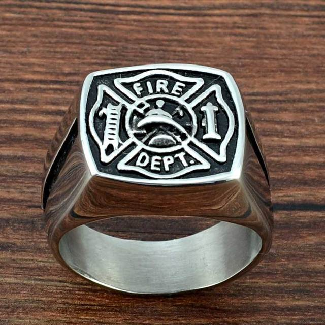 Faitheasy Stainless Steel Ring Men Fashion Jewelry Charm Firefighter Theme Vintage Punk Titanium Rings For Men Souvenirs Gifts