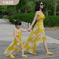 Family look Paternity resort Vacation Holiday dress chiffon skirt  flower prints chiffon dress women girl Summer beach dresses
