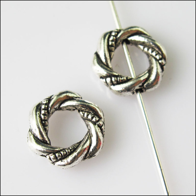25Pcs Antiqued Silver Tone Round Circle Spacer Beads Frame Charms ...