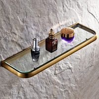 Luxury Antique Single Layer Bathroom Glass Shelf Brushed Brass Wall Mounted Cosmetic Storage Rack Bathroom Accessories
