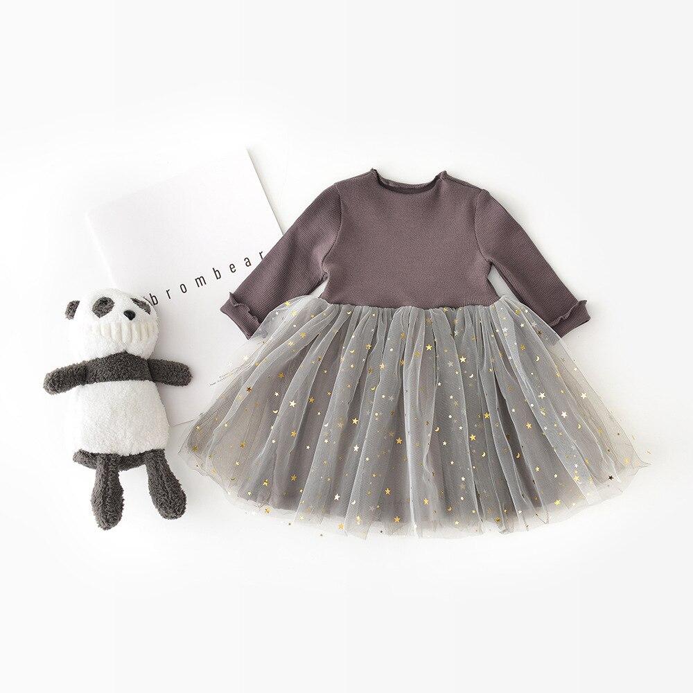 Girls Long Sleeves Princess Dress Baby Girls Pentagram Ball Gown Shiny Clothing