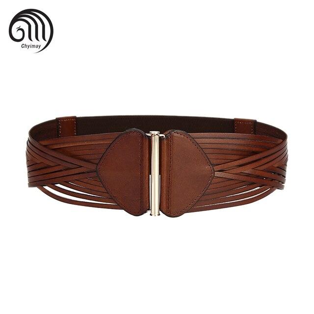 Cinturones Anchos de las mujeres para el Vestido de Mujer Elástica Cintura  Cinturón de piel de d8bdb268cbb7