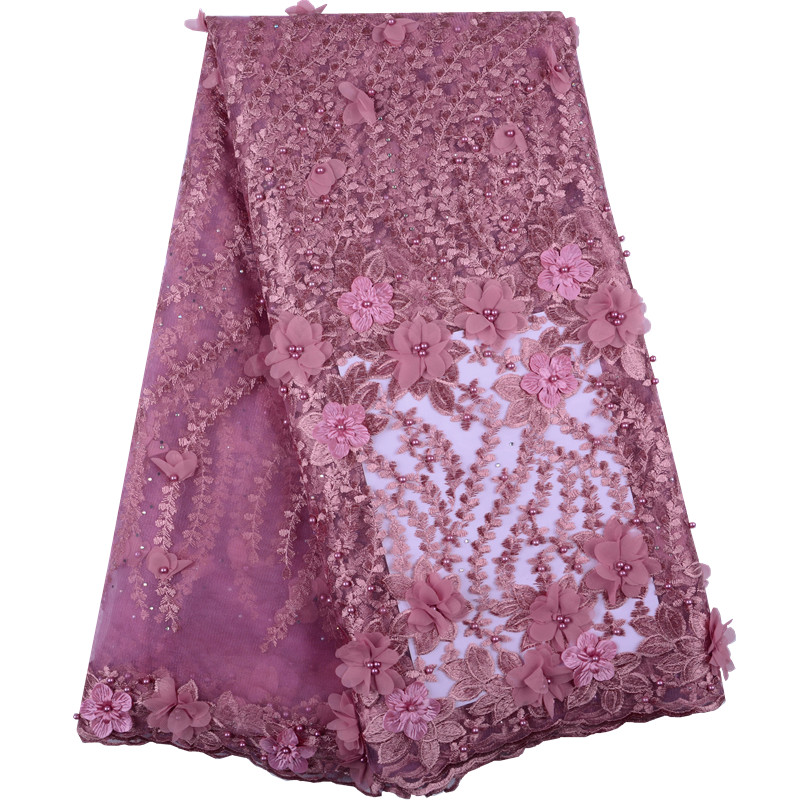 Latest French 3D Lace Fabric Tulle Net Fabric Onion High Quality African Lace Embroidery African Laces