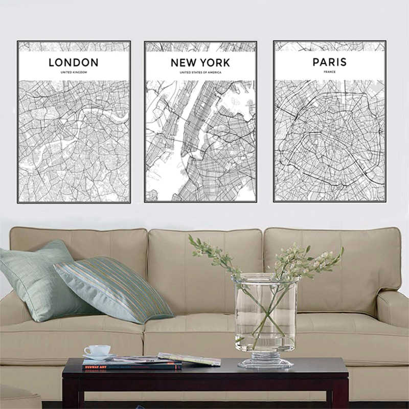 Black White World City Maps Travel Pictures Canvas Paintings Nordic Posters and Prints Wall Art Picture Modern Home Decoration