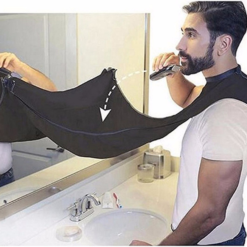 Men Pongee Beard Care Shave Apron Bib Trimmer Clean Facial Hair Cape Sink Bathroom Shelves Haircut Waterproof Floral Cloth
