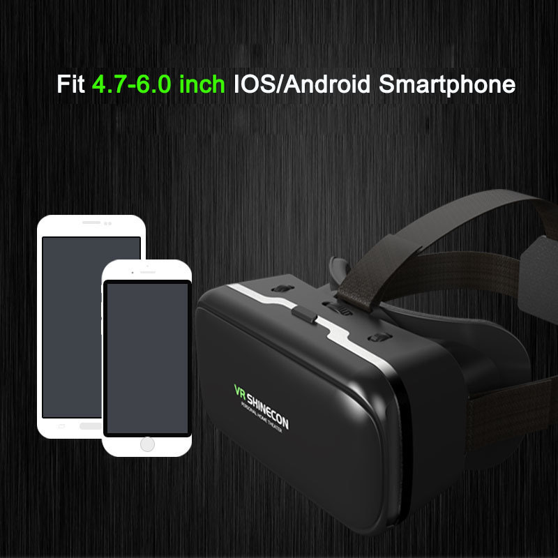 VR Shinecon 6.0 Casque Virtual Reality Glasses 3 D 3d Goggles Headset Helmet For iPhone Android Smartphone Smart Phone Lens Set