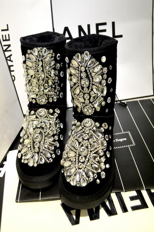 19 new classic luxury diamond gemstone bead tassel rivets sequins flat waterproof snow boots 19 new classic luxury diamond gemstone bead tassel rivets sequins flat waterproof snow boots