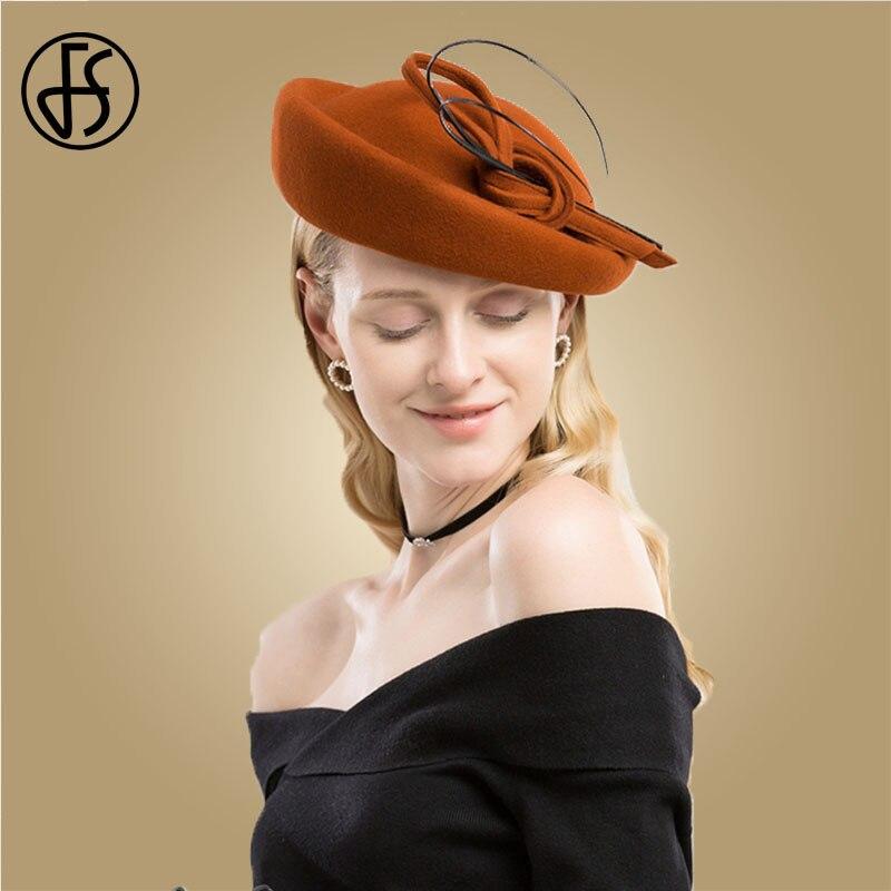 FS Elegant Orange Wool Fedora Hat For Women Pillbox Hats Vintage Wedding Fascinator Black Church Felt Bowler Derby Cocktail Hats