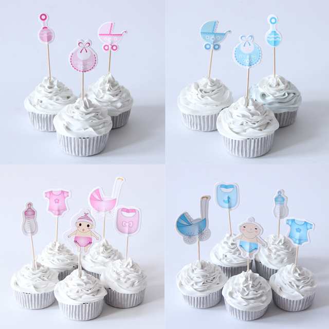 10packlot Baby Boy Girl Shower Cupcake Topper Theme Cartoon Party