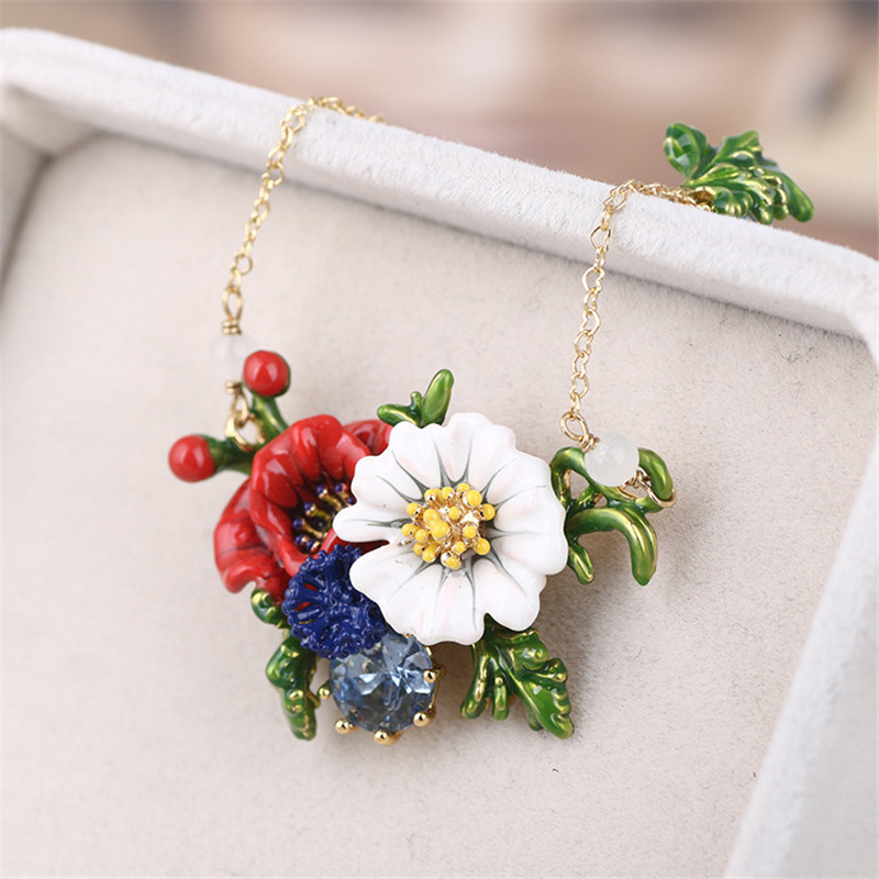 Warmhome Lovely Jewelry Enamel Glaze Copper Fashion Red Rose Flower White Daisy Gem For Women Necklace new big size 40 40cm blocks diy baseplate 50 50 dots diy small bricks building blocks base plate green grey blue