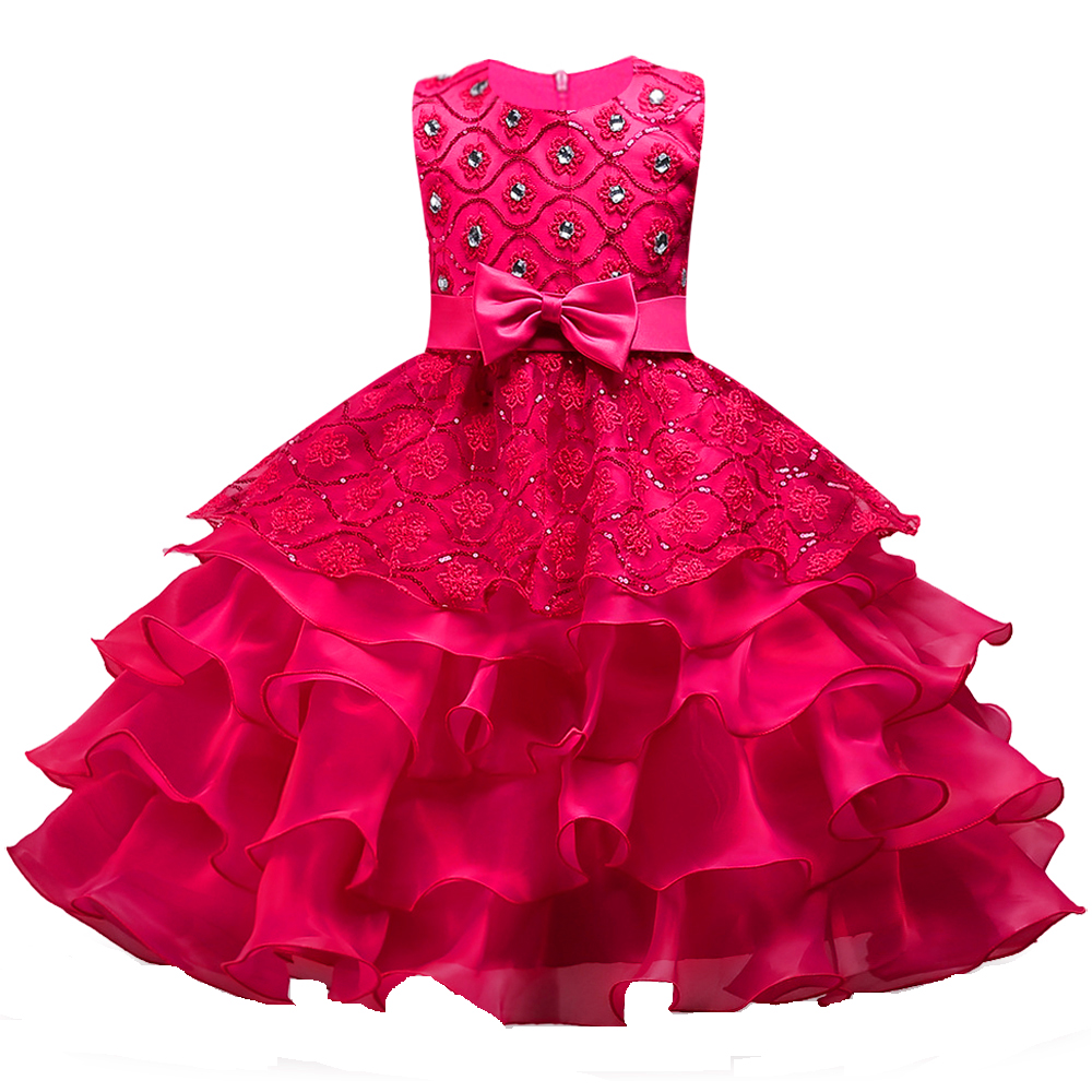 Berngi Flower Girls Dress Princess Wedding Pageant Diamond Sequined Gown Lace Party Dresses Layers Flower Girl Clothes Size 3-14 new christmas flower girls dress lace embroidery trumpet wedding pageant birthday summer princess party dresses clothes 3 12yrs