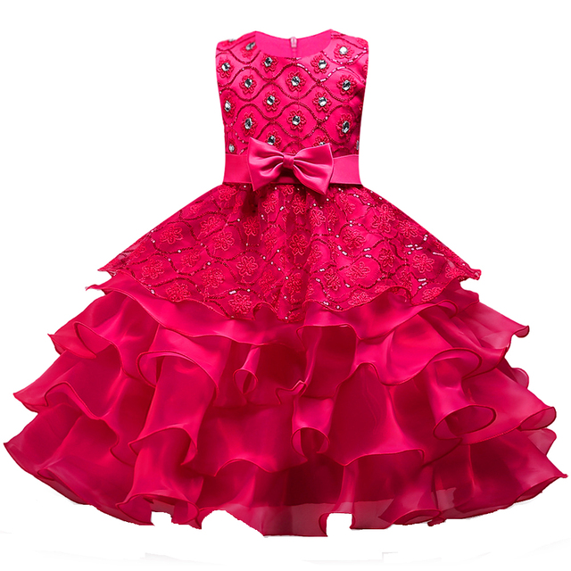 33ed6b44477e Berngi Flower Girls Dress Princess Wedding Pageant Diamond Sequined Gown  Lace Party Dresses Layers Flower Girl Clothes Size 3-14