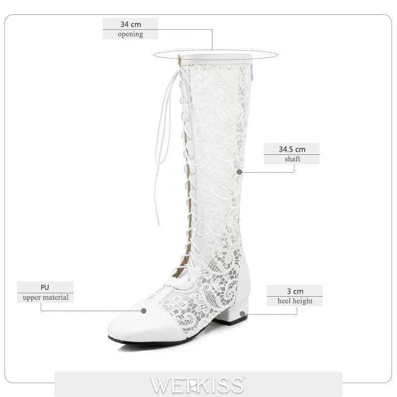 WETKISS Yeni Kalın Topuk Diz Yüksek Yaz Kadın Çizmeler Fermuar Dantel Ayakkabı Sonbahar Moda Rahat Çapraz Bağlı Botlar Pu Bayan ayakkabı