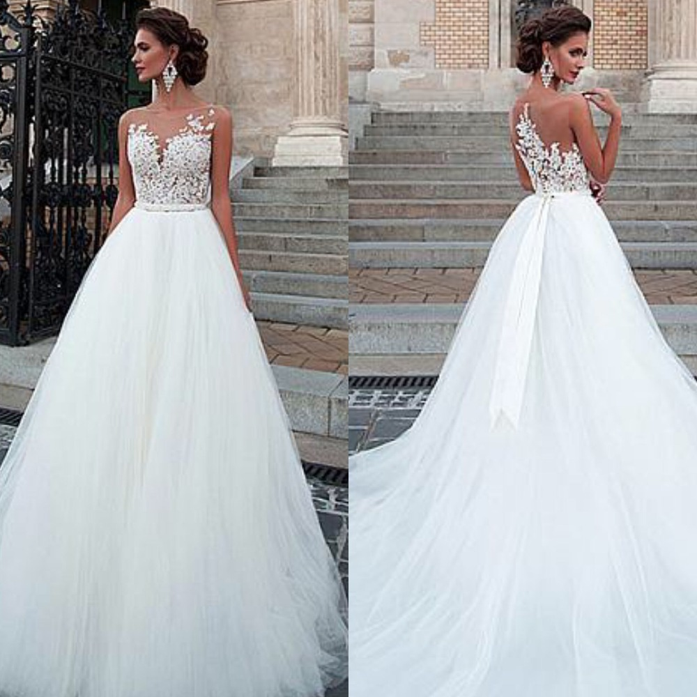 Charming Tulle Wedding Gowns Sleeveless O-Neck A-Line Dresses With Appliques Sexy Illusion Design Bridal Gowns Cheap