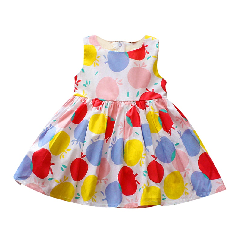 Summer Sleeveless Dress Printed Dress for Girls Fashion Print Cartoon Funny Baby Girl Clothes 2018 New Coloured Princess Dress