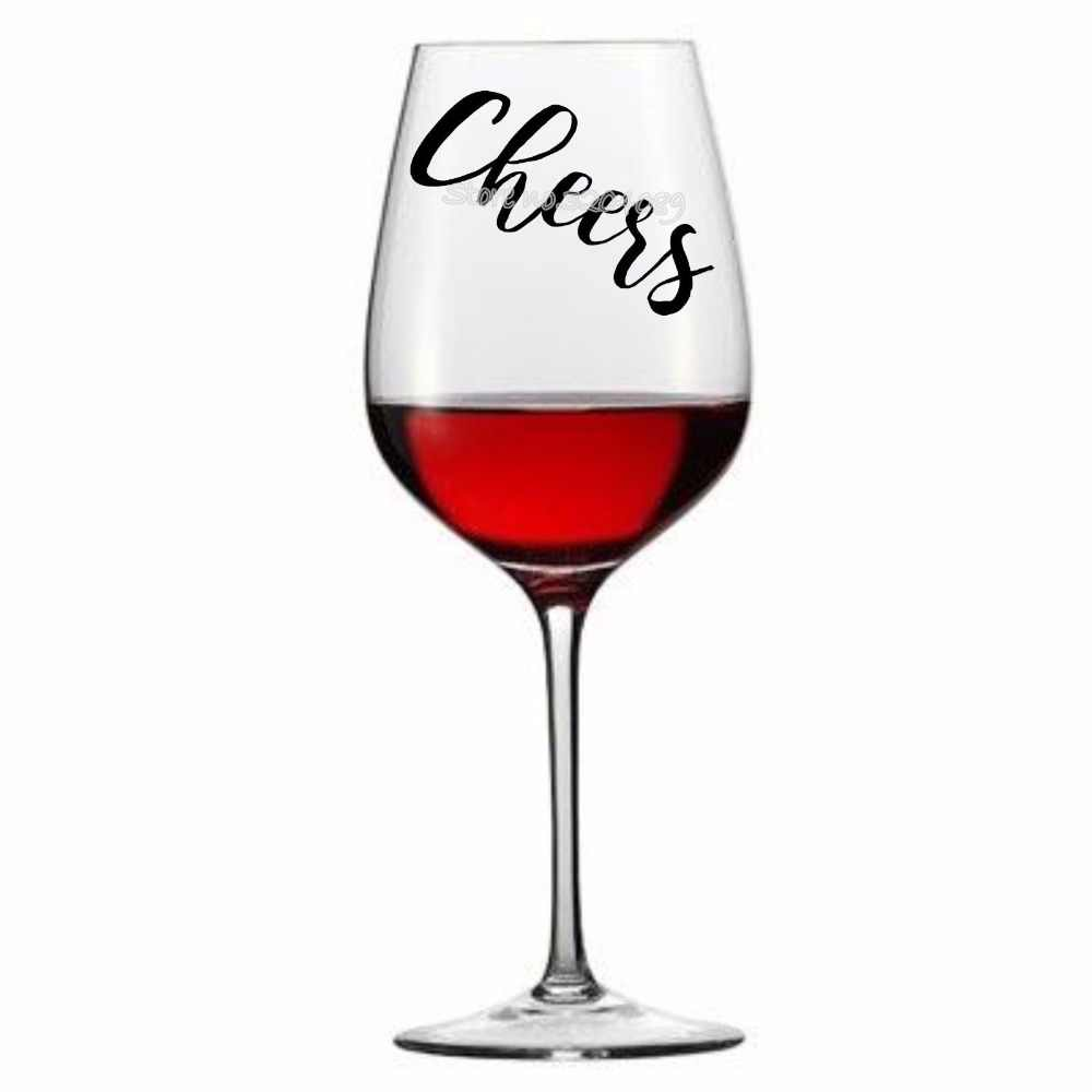 14pcs set cheers lettering vinyl stickers engagement party wine glass stickers celebration wedding birthday banquet
