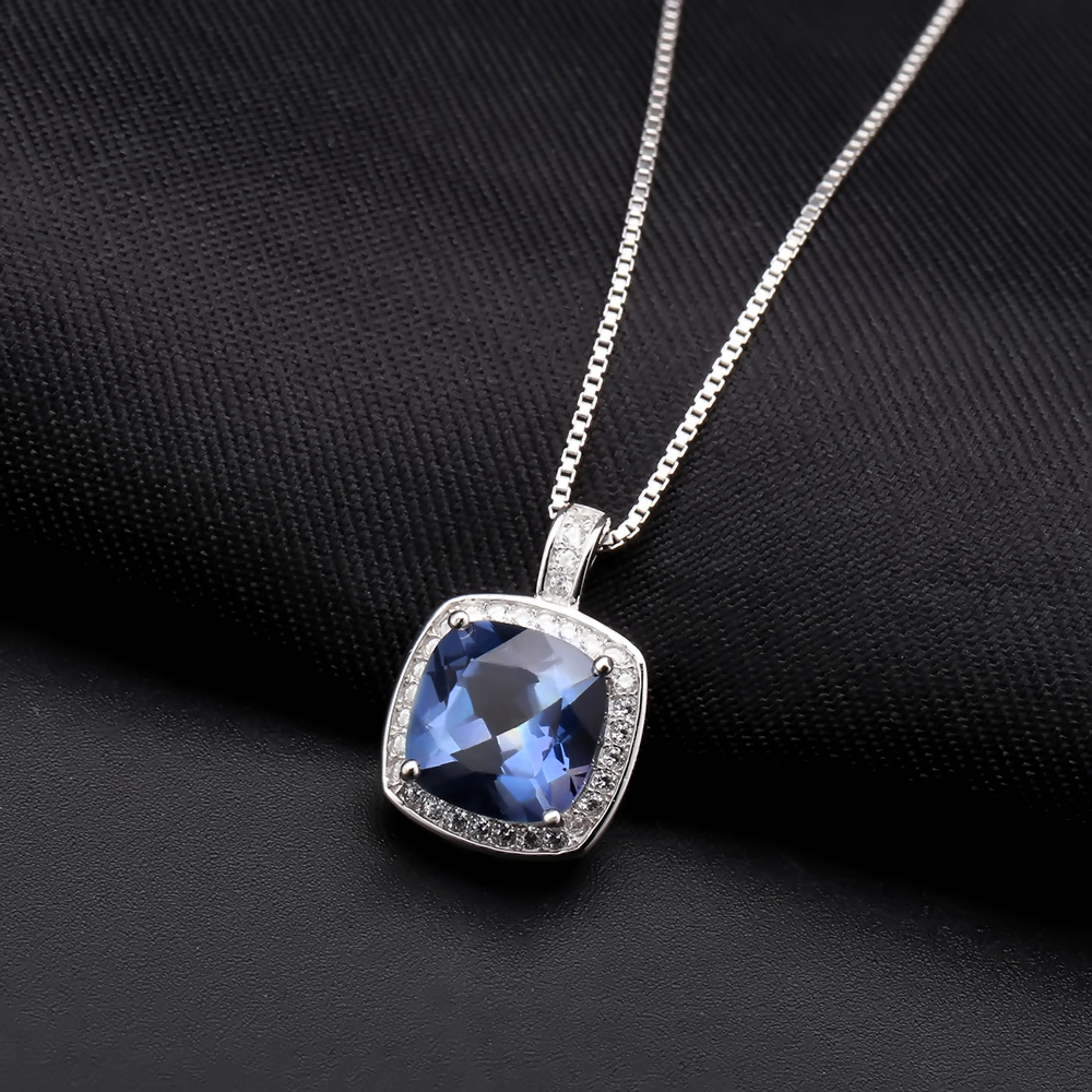 GEM'S BALLET 925 Sterling Silver Necklace Earrings Ring Set Natural Iolite Blue Mystic Quartz Jewelry Set For Women Fine Jewelry