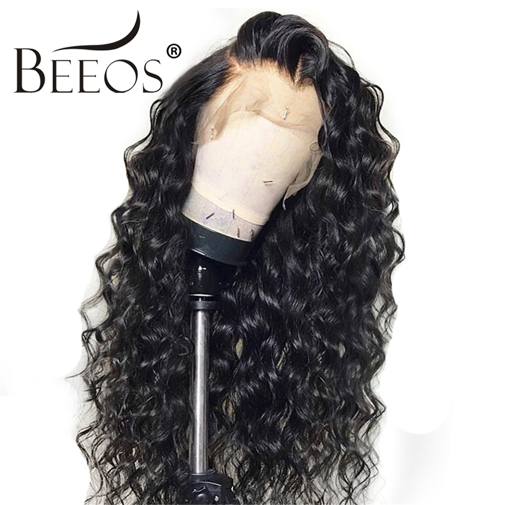 150 13 6 Curly Lace Front Human Hair Wigs for Women Natural Black Brazilian Hair Lace