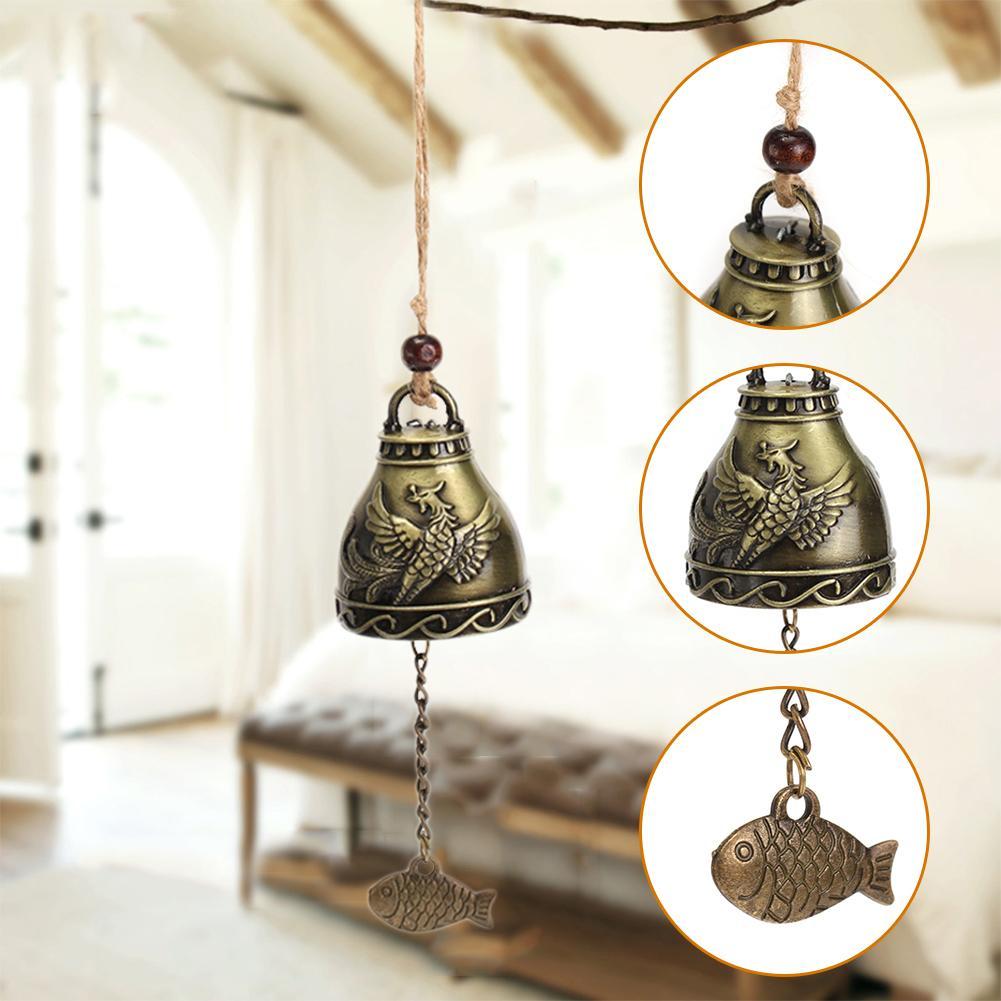 Rétro antirouille en laiton cloche cadeau chanceux vous souhaite bonne chance suspendus carillons éoliens artisanat extérieur salon Yard maison décoratif pendentif