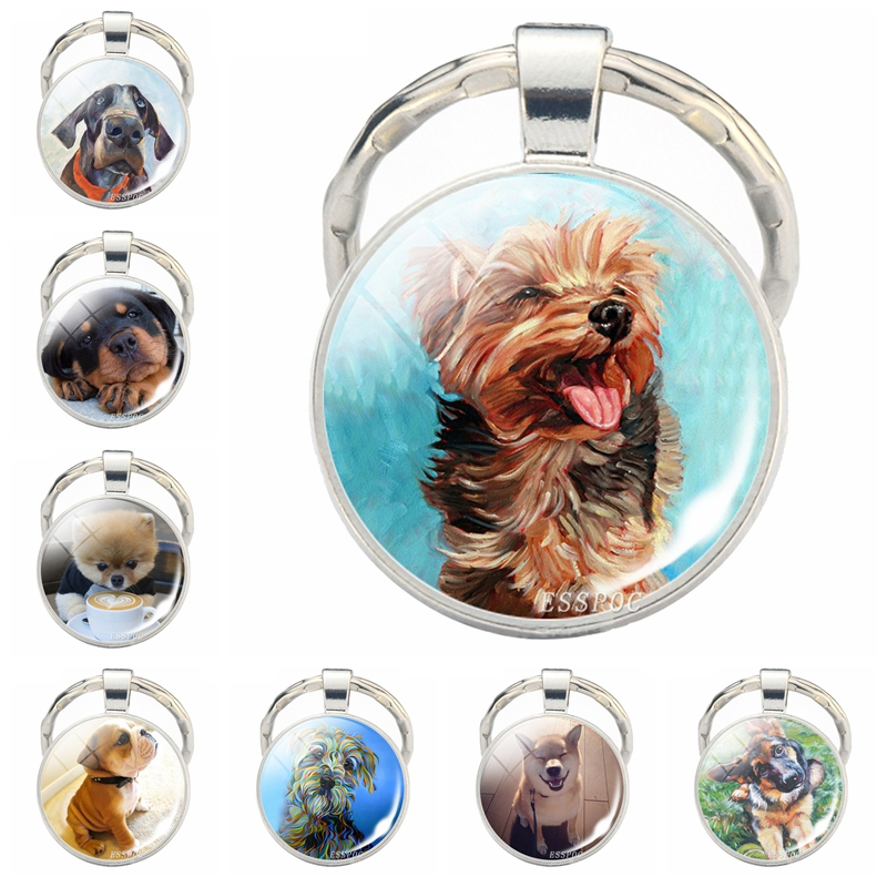 Dog Jewelry Shiba Inu Dog Cute Picture Keychain Glass Cabochon Pendant Metal Ring Keyring Bag Pendant Dog Lover Gift