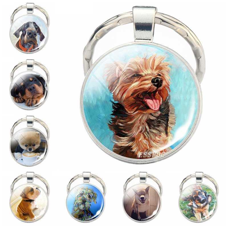Perro encantador llavero Shiba Inu perro llavero de fotografía cabujón colgante de vidrio Metal anillo llavero perro amante regalo Dropshipping