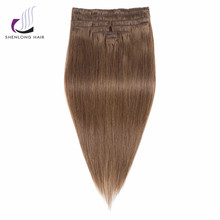 SHENLONG HAIR Remy 100% Human Hair  Weaving Malaysian #6 9pcs/set Clip In Hair Extensions Straight 12 Colors 16 to 20 inch