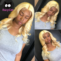Promqueen 613 Honey Blonde Lace Front Human Hair Wigs Pre plucked Brazilian Body Wave Wigs With Baby Hair Glueless
